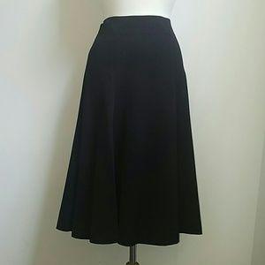 Rafaella Black Flowy Midi Skirt Size 8